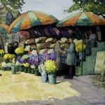"Virginia Wooley, ""Flower Stalls""oil-on-panel, c.1930foapac No. 1990.062"