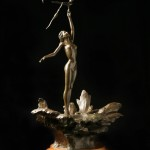 "Robert Krantz, ""Young Woman Feeding Birds""bronze sculpture, c. 1983foapac No. 2010.011"