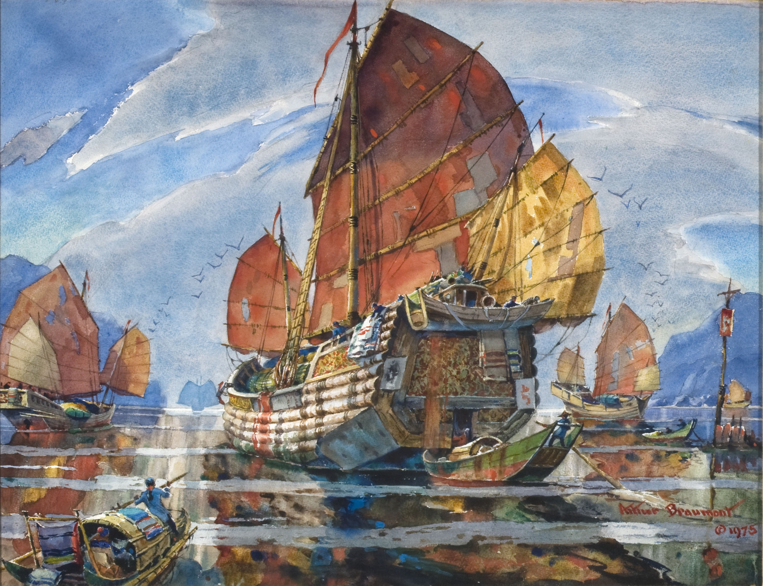 "Arthur Beaumont, ""Chinese Junk""watercolor, 1975foapac no. 2010.126"