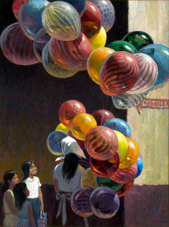 "Jack Dudley, ""Balloon Vendor""oil on panel, 1980foapac no. 2010.002"